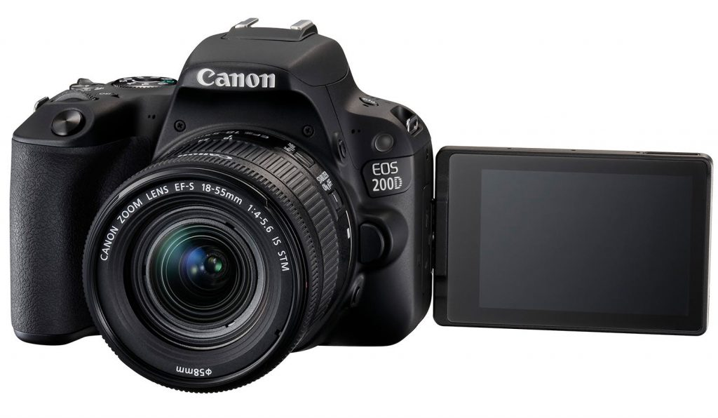 canon eos 200d voorkant met lens