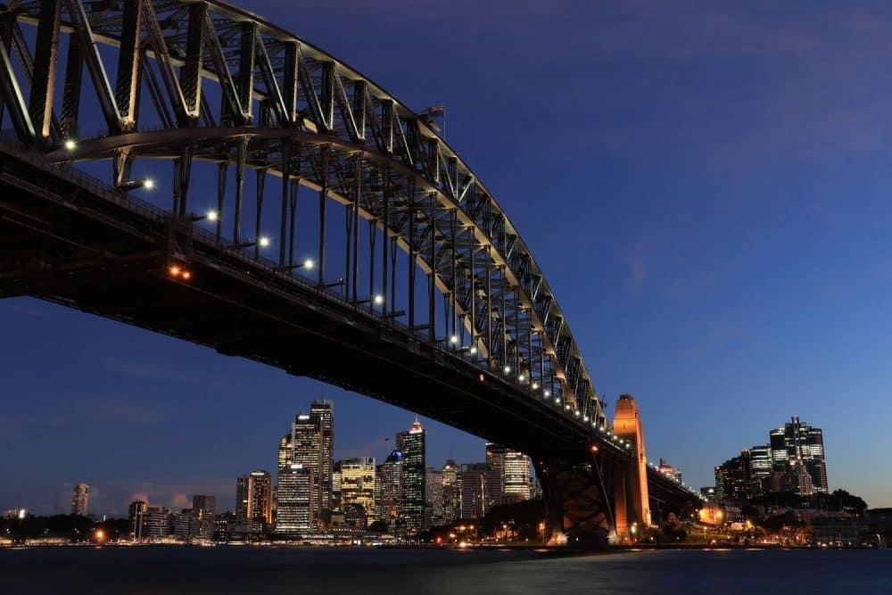 Foto skyline en brug