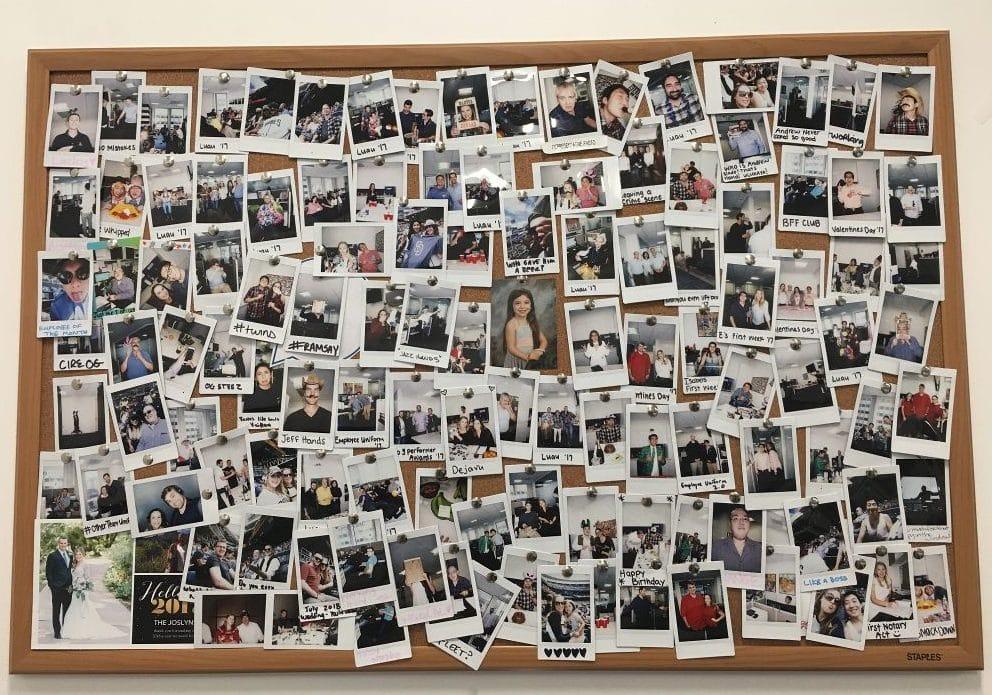 polaroid foto muur